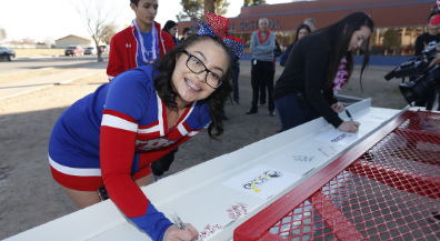 Beam signing ceremony celebrates modernization project at Irvin