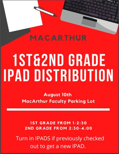 1st and 2nd grade IPAD distribution