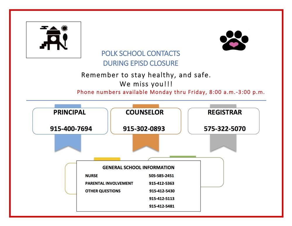 Polk School Contacts, click here.
