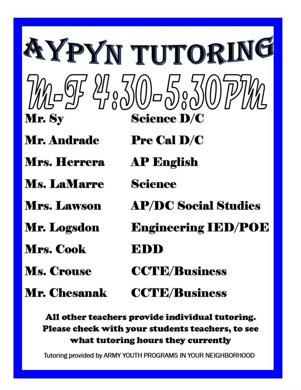 Campus Tutoring Schedules 2020