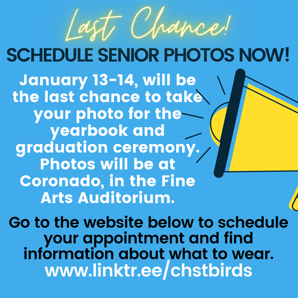 Last Chance to Schedule Senior Photos!