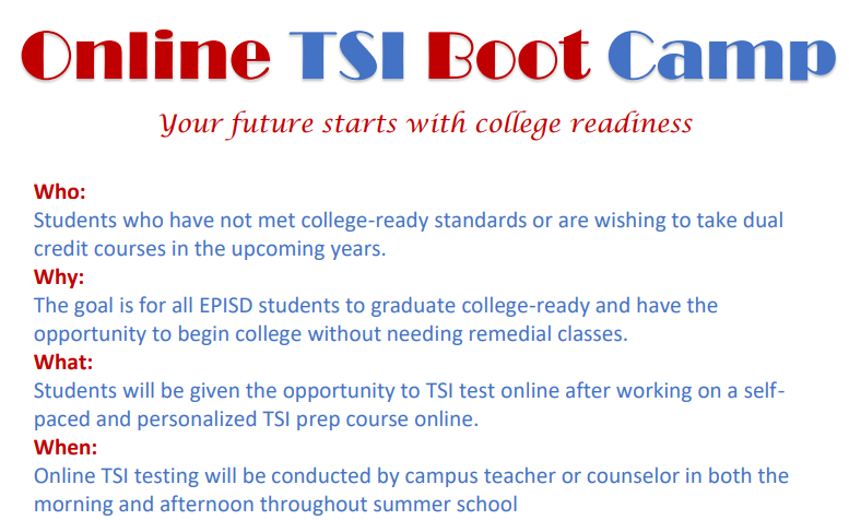 Online TSI Boot Camp - Are you College Ready?